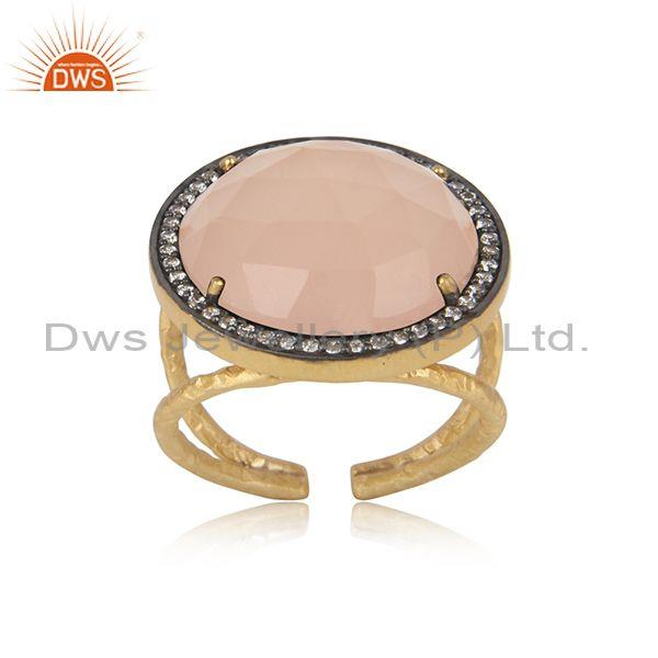 Textured Bold Gold On Silver Rose Chalcedony and Cz Ring