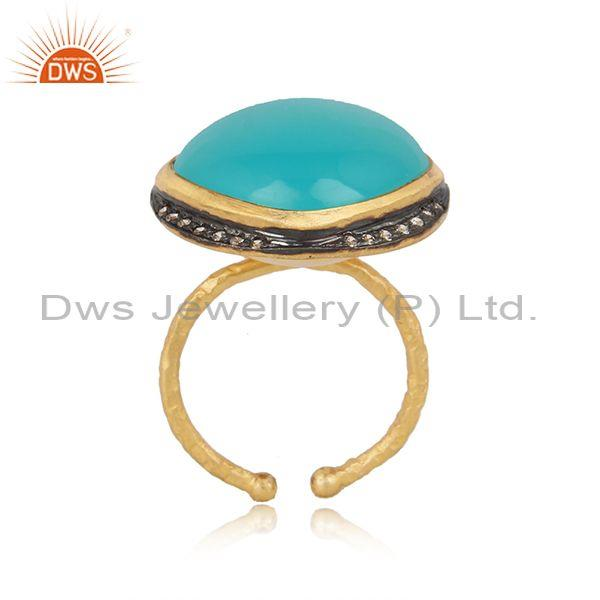 Handmade Design Gold on Silver Aqua Chalcedony Cz Ring