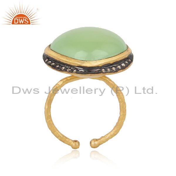 Handmade Design Gold on Silver Prehnite Chalcedony Cz Ring
