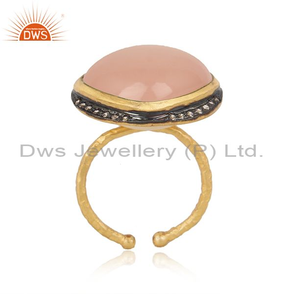 Handmade Design Gold on Silver Rose Chalcedony Cz Ring