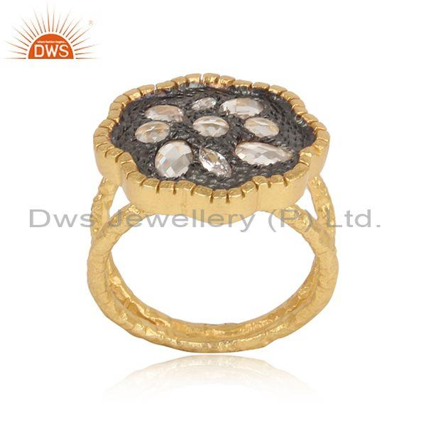 Handtextured Gold and Black Rhodium on Silver 925 Cz Ring