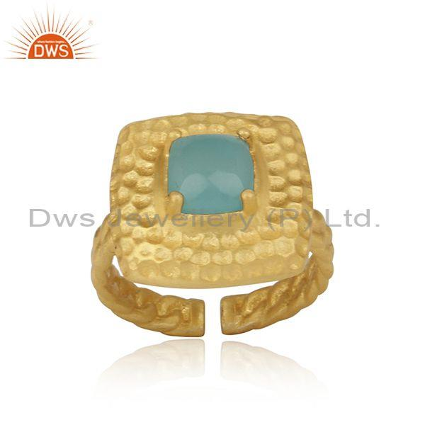 Handtextured Adjustable Gold on Silver Ring with Aqua Chalcedony