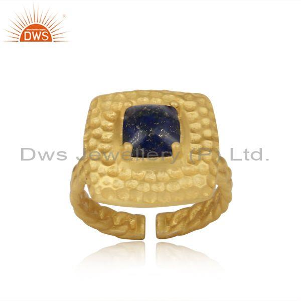 Handtextured Adjustable Gold on Silver Ring with Lapis