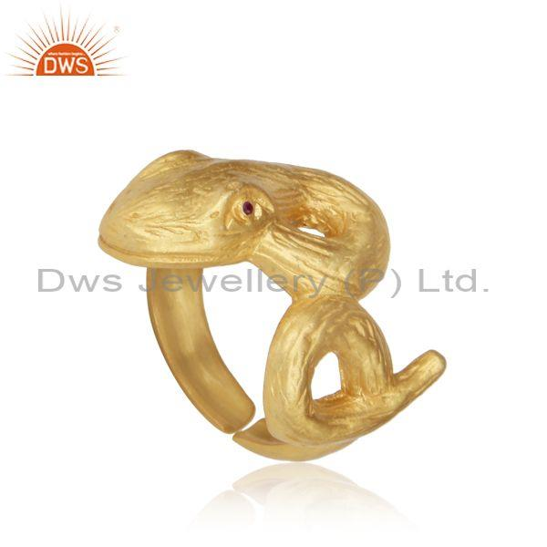 Snek Design Textured Gold on Silver Ring with Zircon Red