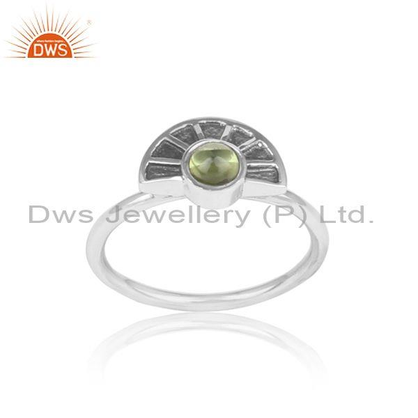 Textured Moon Design Oxidized Silver Ring with Peridot