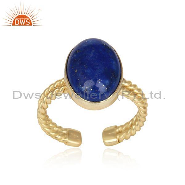 Handmade twisted rope double shank gold on silver lapis ring