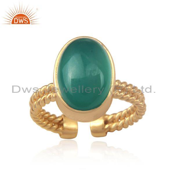 Oval Green Onyx Set Gold On 925 Silver Twisted Classic Ring