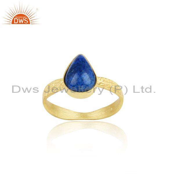 Designer Shank Yellow Gold on Silver 925 Lapis Handmade Ring