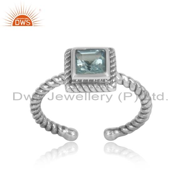 Traditional Square Blue Topaz Set Oxidized 925 Silver Ring