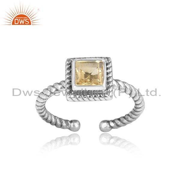 Square cut CITRINE set sterling silver oxidized ring