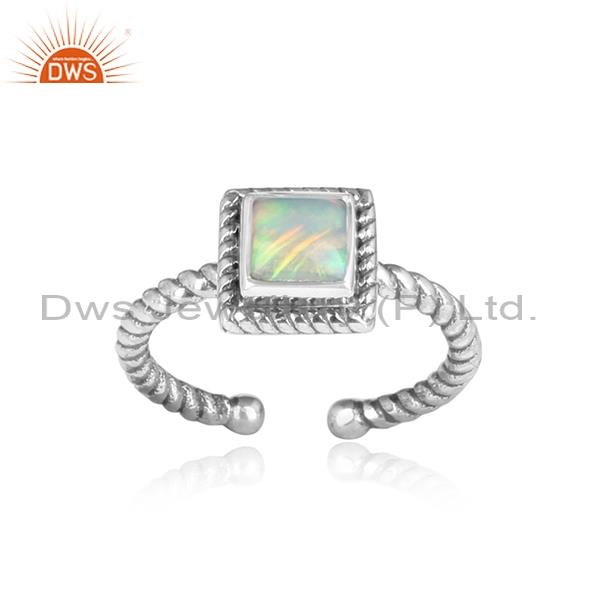 ETHIOPIAN OPAL CABUSHION Sterling silver square ring