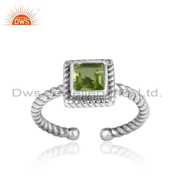 Square Cut Peridot Set Oxidized Sterling Silver Twisted Ring
