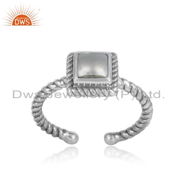 Square Cut Pearl Set Oxidized Sterling Silver Twisted Ring