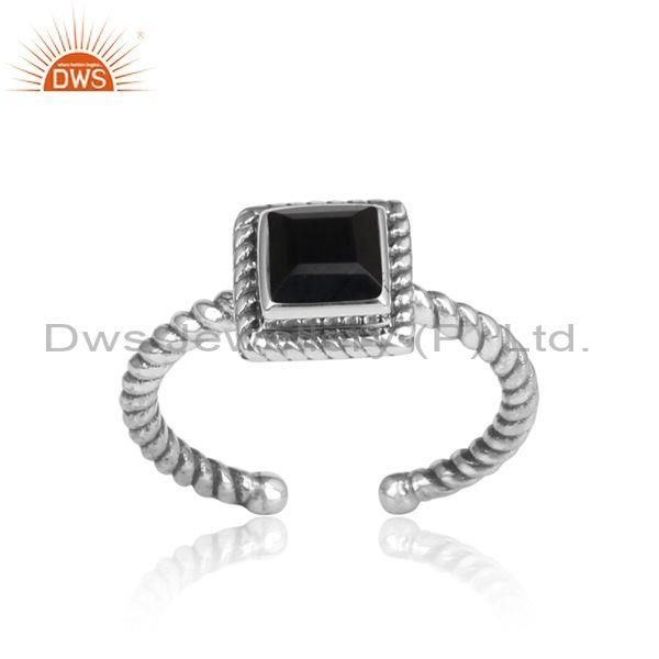 Handmade Twist Designer Oxidized Silver Black Onyx Ring