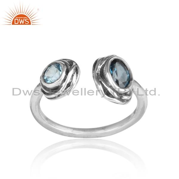 London Blue Topaz & Blue Topaz Wrapped Silver Facing Ring
