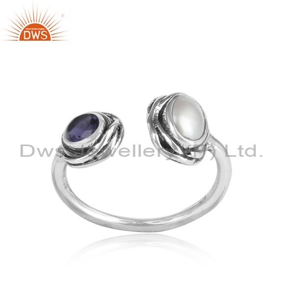 Pearl cabushion & iolite cut sterling silver adjustable ring
