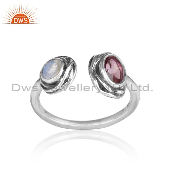 PINK TOPAZ and RAINBOW MOON STONE CUT sterling silver ring
