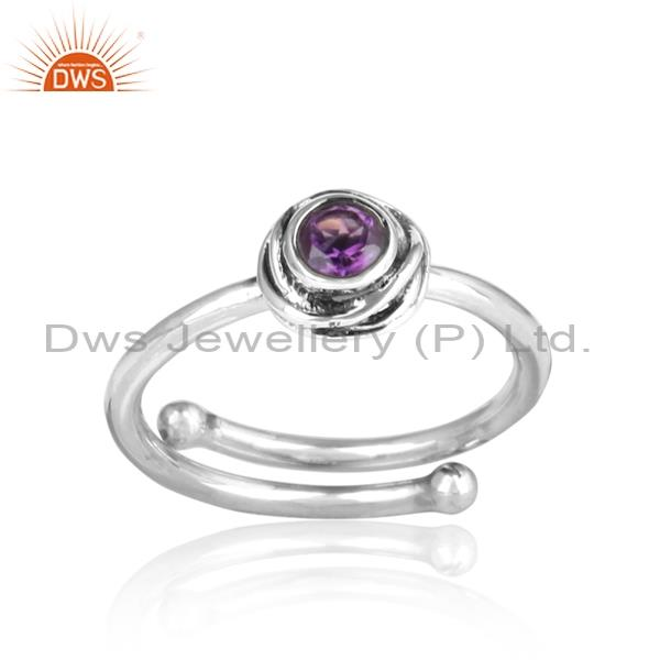 Amethyst Wrapped Sterling Silver Ring For All Sizes
