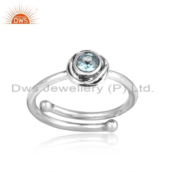 Bright Blue Topaz Set Adjustable Oxidized 925 Silver Ring