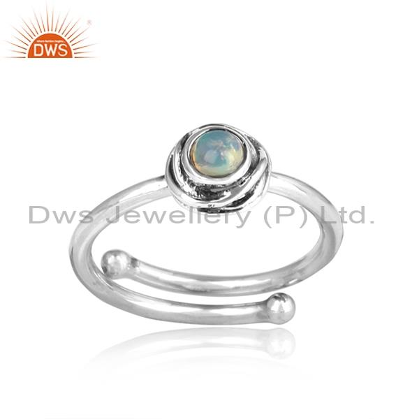 Ethiopian Opal Set Sterling Silver Oxidized Ring