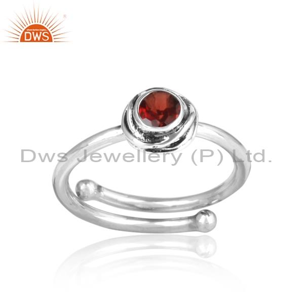 Red Garnet Cut Sterling Silver Oxidized Adjustable Ring