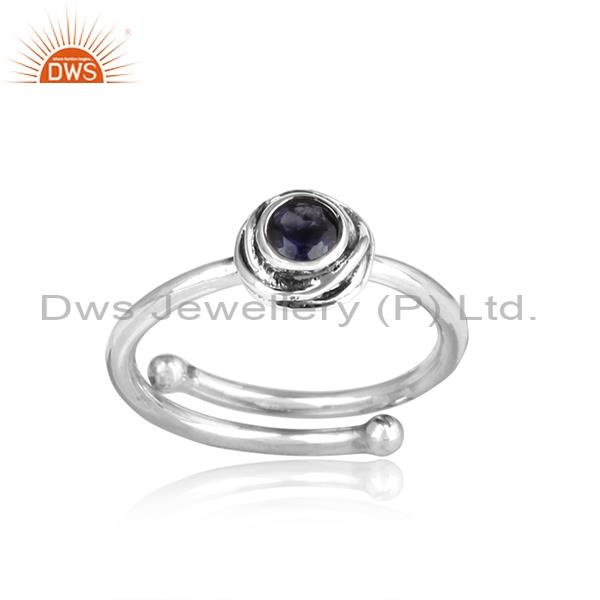 Iolite Set Adjustable 925 Silver Ring For All Sizes