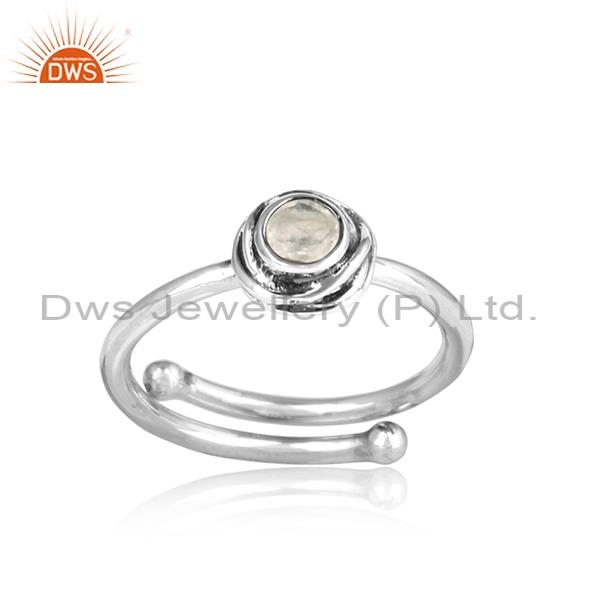 Rainbow Moon Stone Wrapped Sterling Silver Oxidized Ring