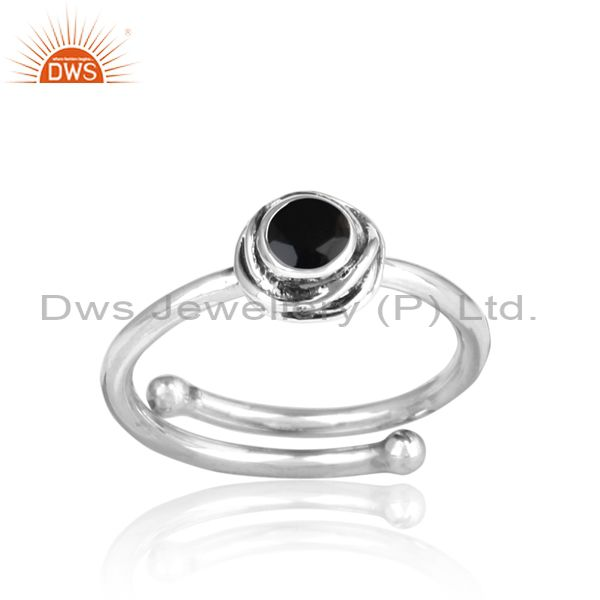Black Onyx Cut Sterling Silver Oxidized Adjustable Ring