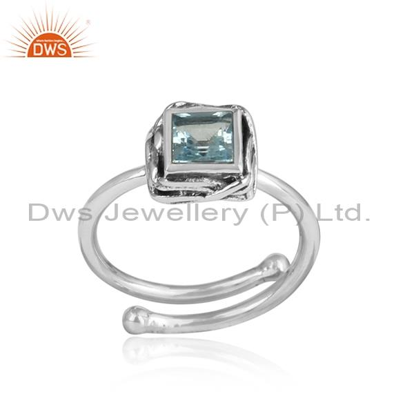 Blue Topaz Square Cut Sterling Silver Oxidized Ring
