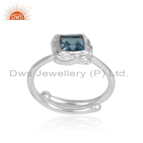 Square cut blue topaz set fine silver handmade wrapped ring