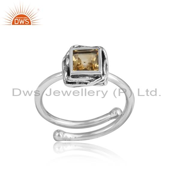 Square Cut Citrine Cut Sterling Silver Ring