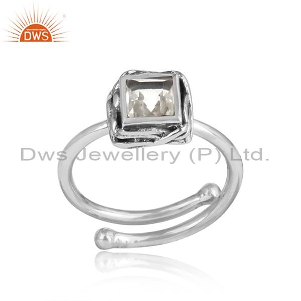 Crystal Quartz Square Cut Sterling Silver Ring