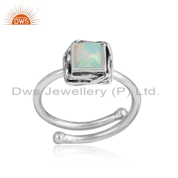 Ethiopian opal wrapped square sterling silver ring