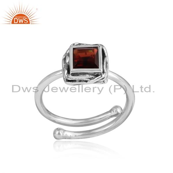 Square Garnet Cut Sterling Silver Oxidized Ring