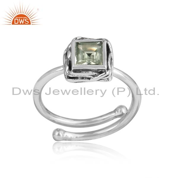 Green Amethyst Square Cut Sterling Silver Ring