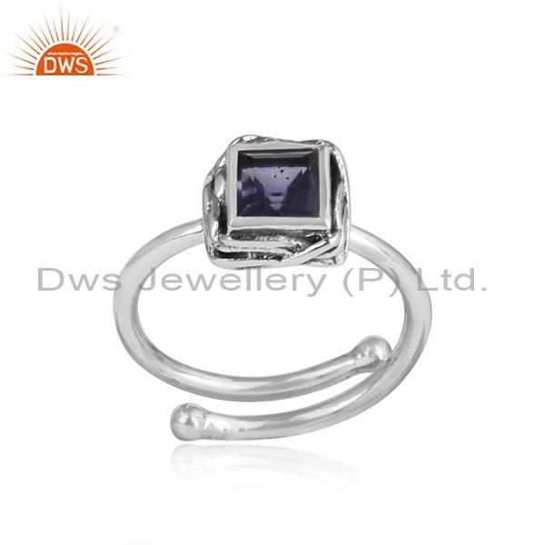 Square Cut Iolite Adjustable Oxidized 925 Silver Ring