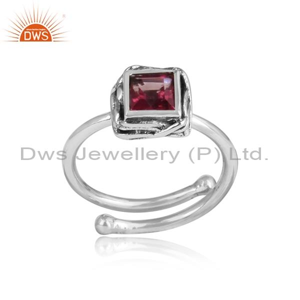 PINK TOPAZ  square CUT set Sterling silver oxidized ring
