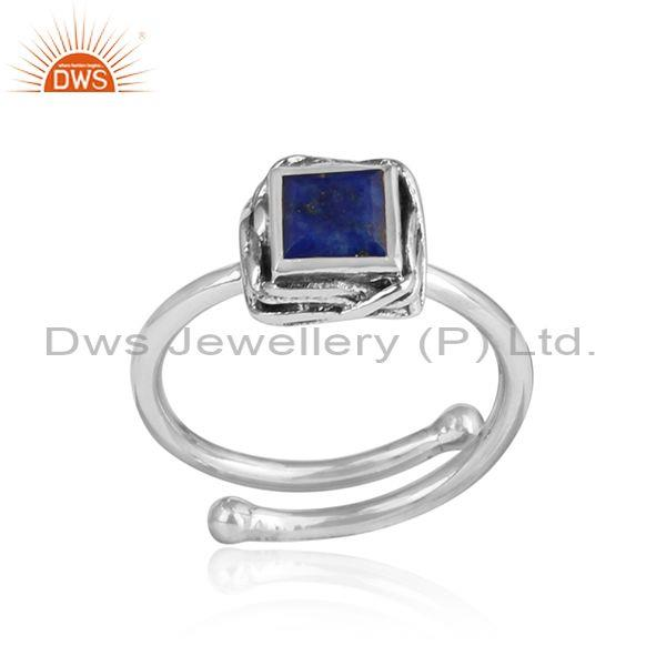 Vibrant Lapis Square Cut Oxidized Sterling Silver Ring