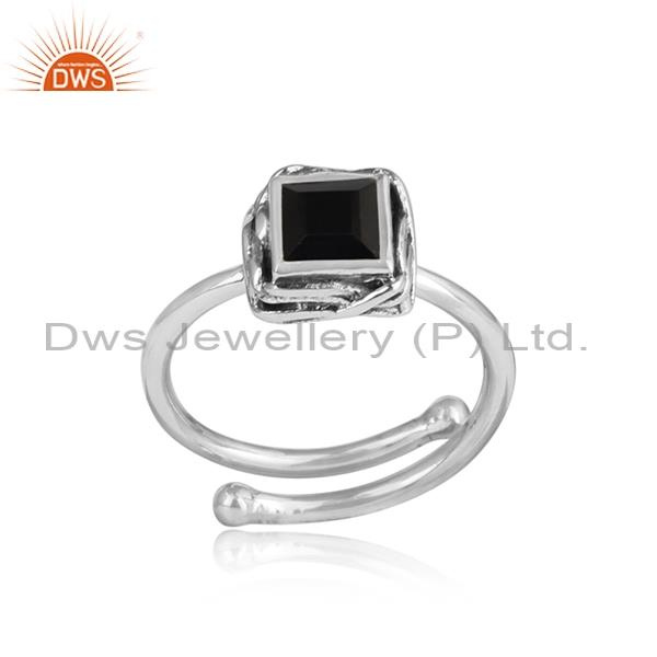 black onyx Sterling silver oxidized adjustable ring