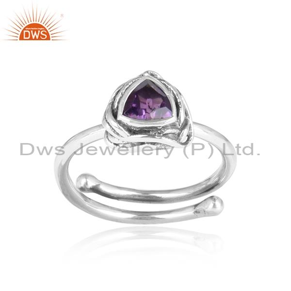 Amethyst Cut Sterling Silver Triangular Adjustable Ring