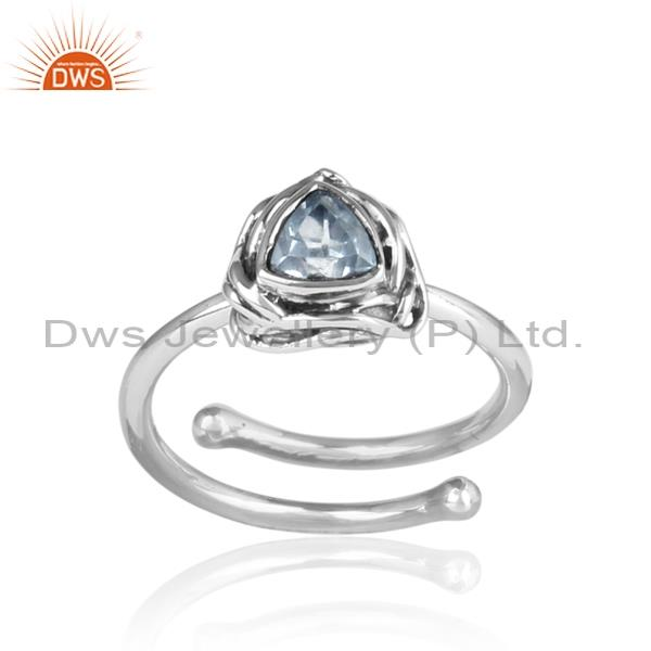 Blue Topaz Set Sterling Silver Triangular Adjustable Ring