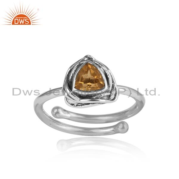 Yellow Citrine Set In Triangular Sterling Silver Ring