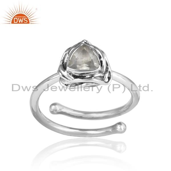 Triangular & Clear Crystal Quartz 925 Oxidized Silver Ring