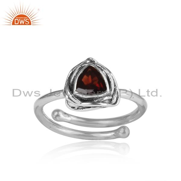 Red Garnet Wrapped Triangular Sterling Silver Ring