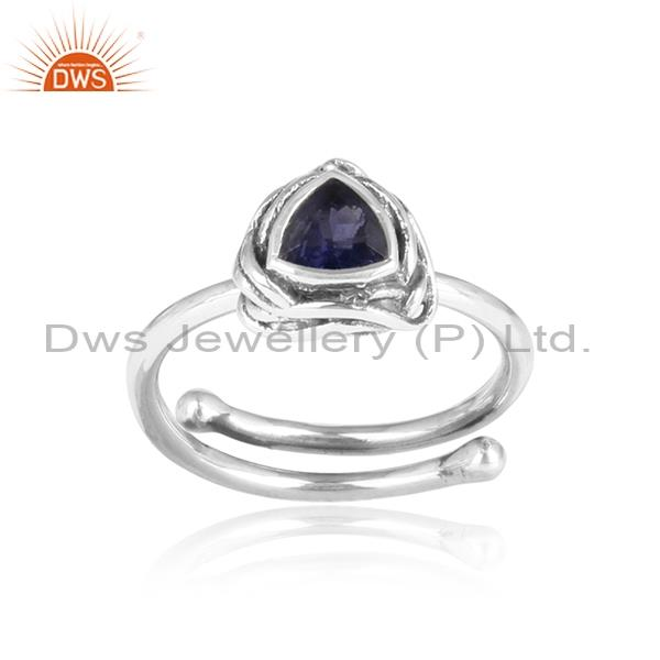 IOLITE set sterling silver oxidized triangular ring