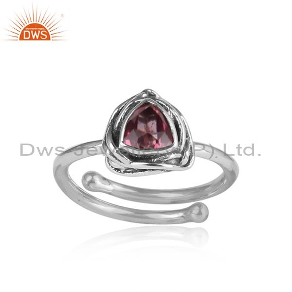 Pink Topaz Set Triangular Sterling Silver Oxidized Ring