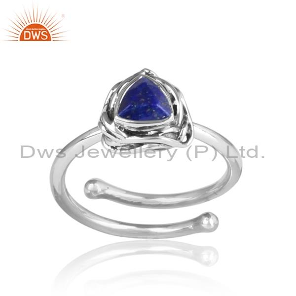 Lapis Wrapped Sterling Silver Oxidized Ring