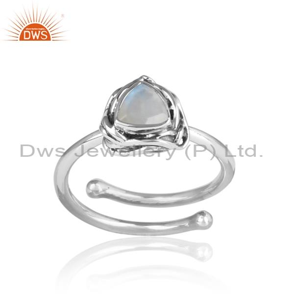 Rainbow Moon Stone Sterling Silver Womens Ring
