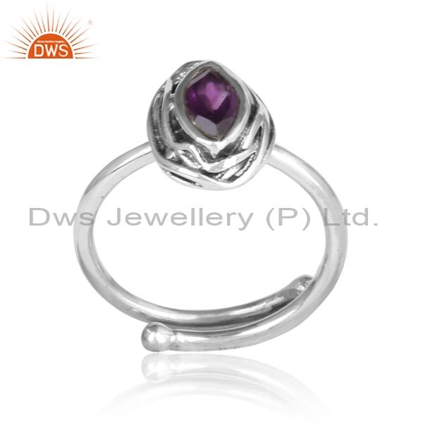 Amethyst set in sterling silver adjustable ring