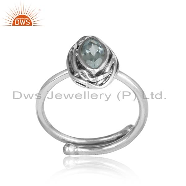 Blue Topaz Set Sterling Silver Ring For All Sizes